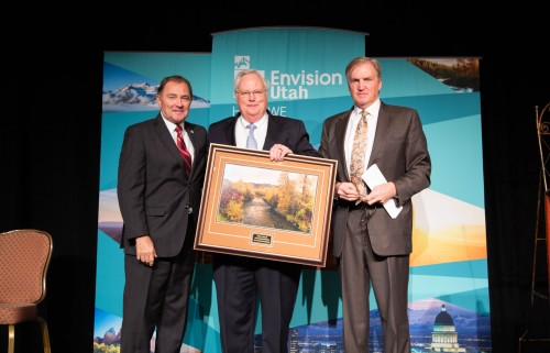 Utah Governor Gary Herbert, Envision Utah CEO Robert Grow and Jacobsen Board of Directors Chairman Lonnie Bullard (left to right) are pictured at the 2019 Common Good Awards luncheon at the Grand America Hotel in Salt Lake City. Bullard, who is also the chairman of Envision Utah's Executive Committee, emceed the luncheon.